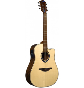 Lag Tramontane Hyvibe 20 THV20DCE Dreadnought Natural Electro Acoustic Guitar & Case