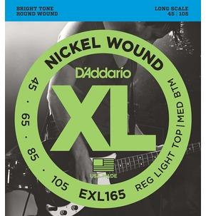 D'Addario EXL165 Nickel Wound Bass Guitar Strings, Custom Light, 45-105, Long Scale