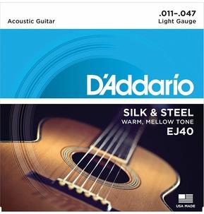 D'Addario EJ40 Silk & Steel Folk Acoustic Guitar Strings, 11-47