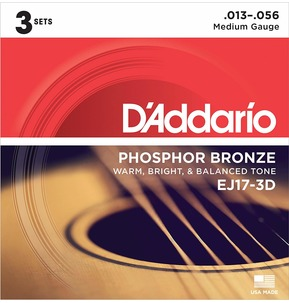D'Addario EJ17-3D Phosphor Bronze Acoustic Guitar Strings, Medium, 13-56 - 3 Sets