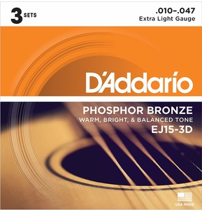 D'Addario EJ15-3D Phosphor Bronze Acoustic Guitar Strings, Extra Light, 3 Sets