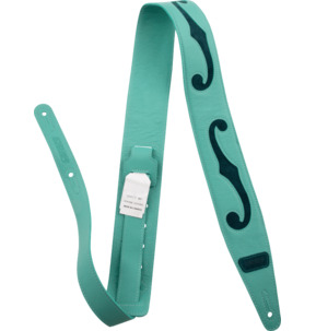 Gretsch F-Holes Leather Strap, Surf Green and Dark Green, 3