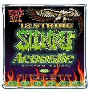 Ernie Ball Earthwood Phosphor Bronze 12-String Acoustic Guitar Strings, Light, 9-46