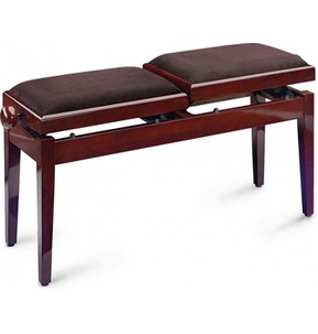 Stagg PB245 Duet Double Adjustable Piano Stool in Mahogany With Brown Velvet Top