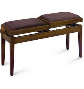Stagg PB245 Duet Double Adjustable Piano Stool In Walnut With Brown Draylon Top