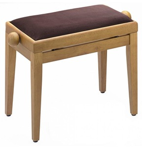 Stagg PB40 Adjustable Piano Stool - Matt Oak With Brown Top
