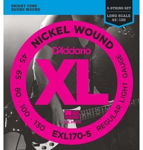 D'Addario EXL170-5 Nickel Wound 5-String Bass Guitar Strings, Light, 45-130, Long Scale