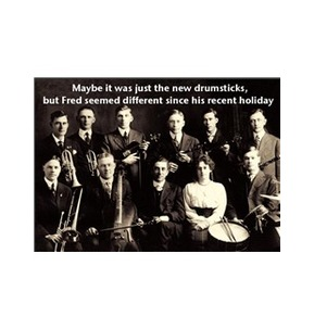 Music Greetings Card: Maybe It Was Just The New Drumsticks
