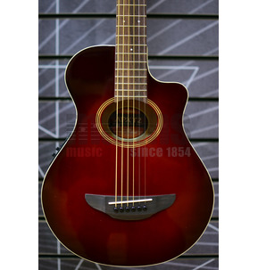 Yamaha APXT2 3/4 Size Electro Acoustic Travel Guitar, Dark Red Burst & Gigbag