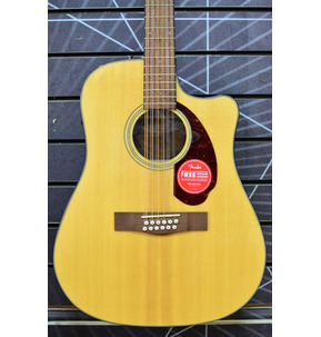Fender CD-140SCE 12-String Electro Acoustic Guitar & Hard Case, Natural, Walnut