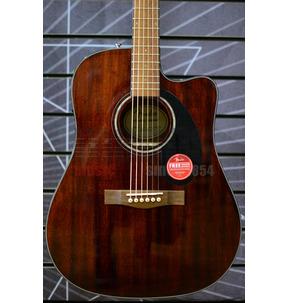 Fender CD-60SCE Dreadnought Electro Acoustic Guitar, All-Mahogany, Walnut