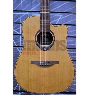 Lag Tramontane Hyvibe 10 THV10DCE Dreadnought Natural Electro Acoustic Guitar & Case