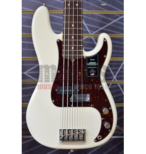 Fender American Professional II Precision Bass V Olympic White 5-String Electric Bass Guitar & Case