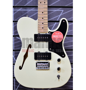 Fender Squier Paranormal Cabronita Telecaster Thinline, Olympic White, Maple