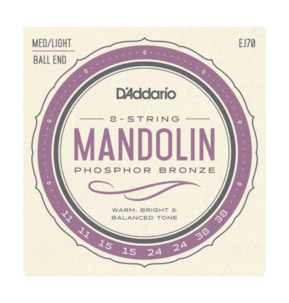 D'Addario EJ70 Mandolin Strings, Phosphor Bronze, 11-38 Medium/Light, Ball End