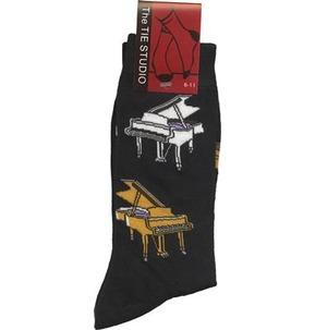 Yellow and White Piano Socks