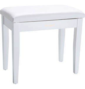 Roland RPB100 Satin White Piano Stool with Vinyl Seat and Music Compartment