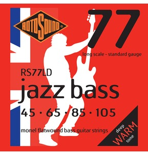 Rotosound RS77LD Jazz Bass Long Scale 45-105 Monel Flatwound Bass Guitar Strings