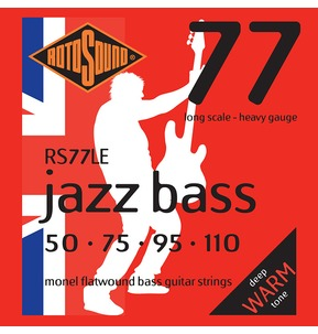Rotosound RS77LE Jazz Bass Long Scale 50-110 Monel Flatwound Bass Guitar Strings