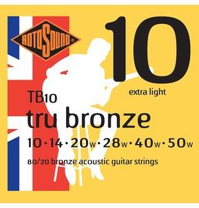 Rotosound TB10 Tru Bronze Extra Light 10-50w Acoustic Guitar Strings