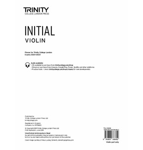 Trinity College London: Violin Exam Pieces 2020-2023 - Initial (Part Only)