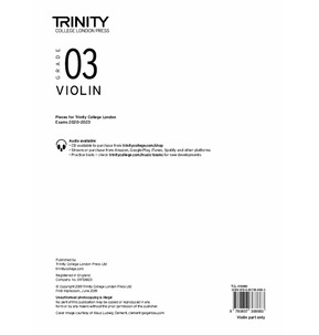 Trinity College London: Violin Exam Pieces 2020-2023 Grade 3 (Part Only)