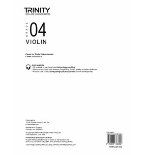 Trinity College London: Violin Exam Pieces 2020-2023 Grade 4 (Part Only)
