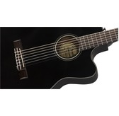 Fender CN-140SCE Electro Classical Nylon Thinline Guitar, Black with Hard Case