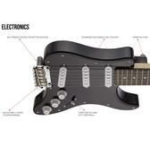 Traveler Guitar Travelcaster Deluxe Electric Travel Guitar, Black Gloss