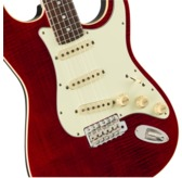 Fender Limited Aerodyne Classic Strat Flame Top, Crimson Red Trans, Rosewood