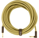 Fender Deluxe Series Instrument Cable, Straight/Angle, 25', Tweed