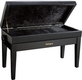 Roland RPB400 Duet Black Polyester Adjustable Piano Stool with Button Top and Music Storage